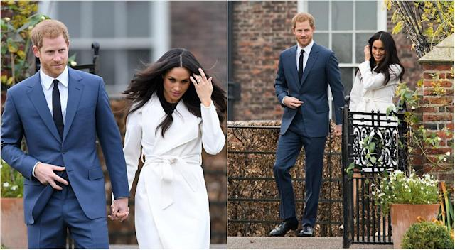Markle touched her hair a few times during her official engagement announcement, as in the photos above, and it may have represented a soothing gesture. (Photos: Getty)