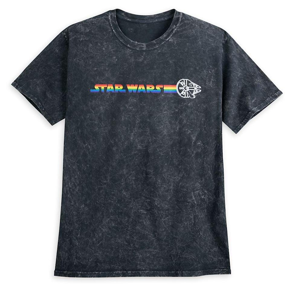 <p>Celebrate your love for the galaxy (with pride!) with this <span>Millennium Falcon Mineral Wash T-Shirt For Adults</span> ($37).</p>