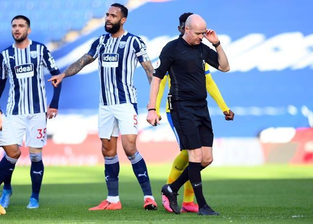 Lewis Dunk was upset his goal was not allowed to stand Clive Mason
