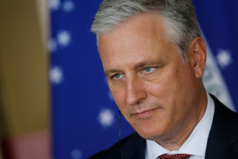 FILE PHOTO: U.S. National Security Advisor Robert O'Brien looks on during a statement to the media at the Itamaraty Palace in Brasilia