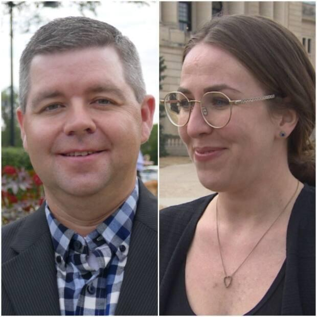 The debate inside the Saskatchewan legislature so far this session has been highlighted by an almost daily back-and-forth between the Trade and Export Minister Jeremy Harrison and the opposition critic Aleana Young. (CBC - image credit)