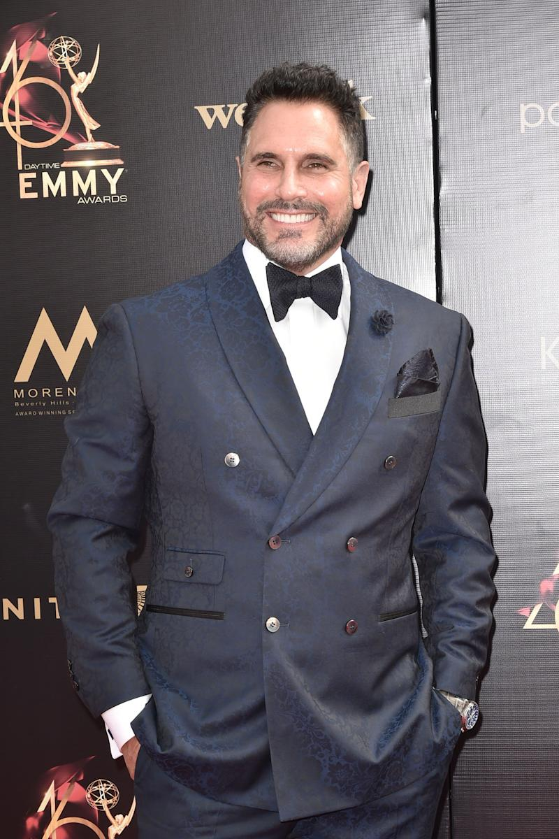 Don Diamont looks stunning in a two-piece blue suit, with a dazzling smile on his face