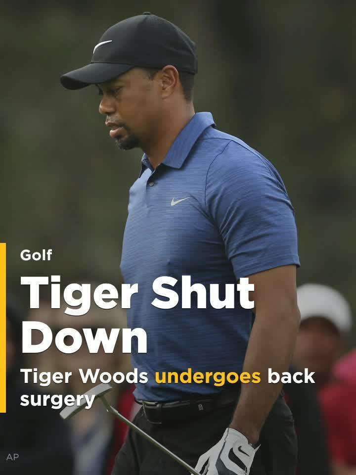 Tiger Woods undergoes another back surgery; potential recovery 6 months out.