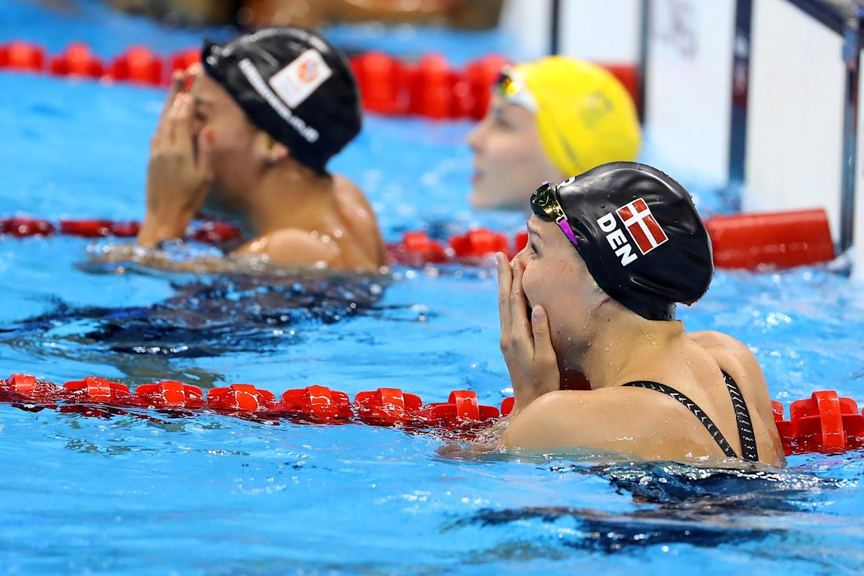 RIO DE JANEIRO, BRAZIL - AUGUST 13:  Pernille Blume of Denmark celebrates winning the Women's 50m Freestyle Final on Day 8 of the Rio 2016 Olympic Games at the Olympic Aquatics Stadium on August 13, 2016 in Rio de Janeiro, Brazil.  (Photo by Al Bello/Getty Images)