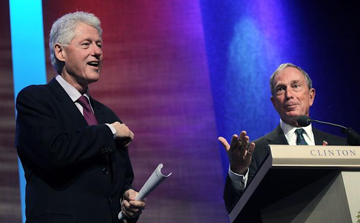 Michael Bloomberg speaks at the Clinton Global Initiative in 2010 as former President Bill Clinton looks on. Clinton welcomed billionaires into the Democratic Party. (Photo: Mario Tama/Getty Images)