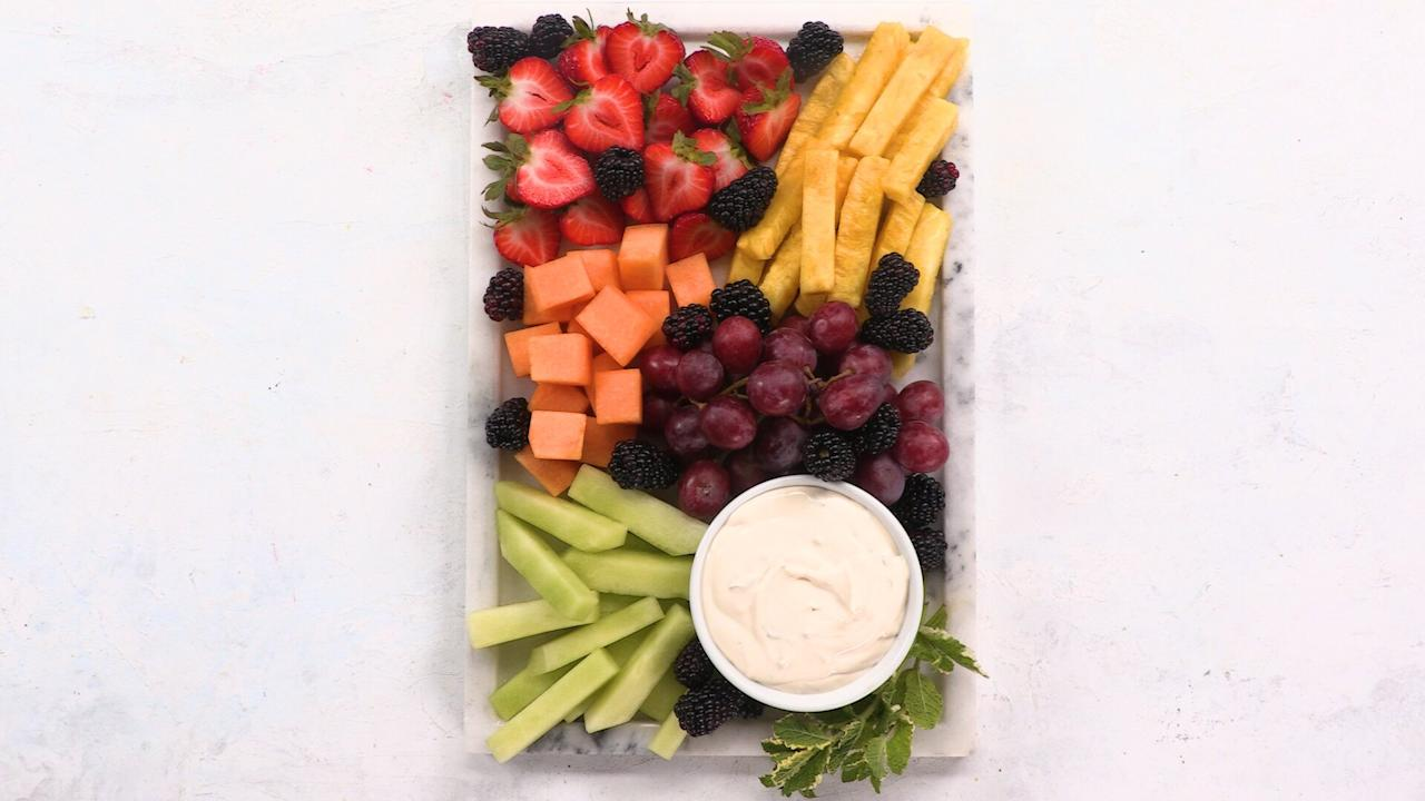 """<p>For a show-stopping party appetizer or dessert that will appeal to both kids and adults, you can't go wrong with a fruit platter. Accompanied by an easy, ultra-creamy, homemade dipping sauce that's bursting with fresh lime and mint, this starter offers plenty of fruit combinations that are refreshing and sweet. </p> <p><a href=""""https://www.myrecipes.com/recipe/frudite-platter-with-mint-lime-dip"""">Frudité Platter with Mint-Lime Dip Recipe</a></p>"""