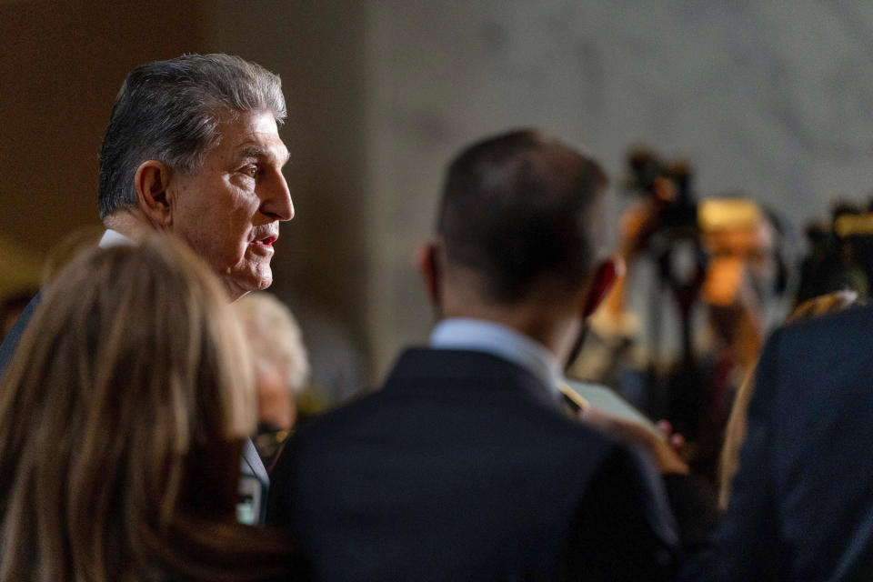 Senator Joe Manchin, DW.Va., speaks during a press conference outside his office on Capitol Hill in Washington, Wednesday, October 6, 2021. (AP Photo / Andrew Harnik)