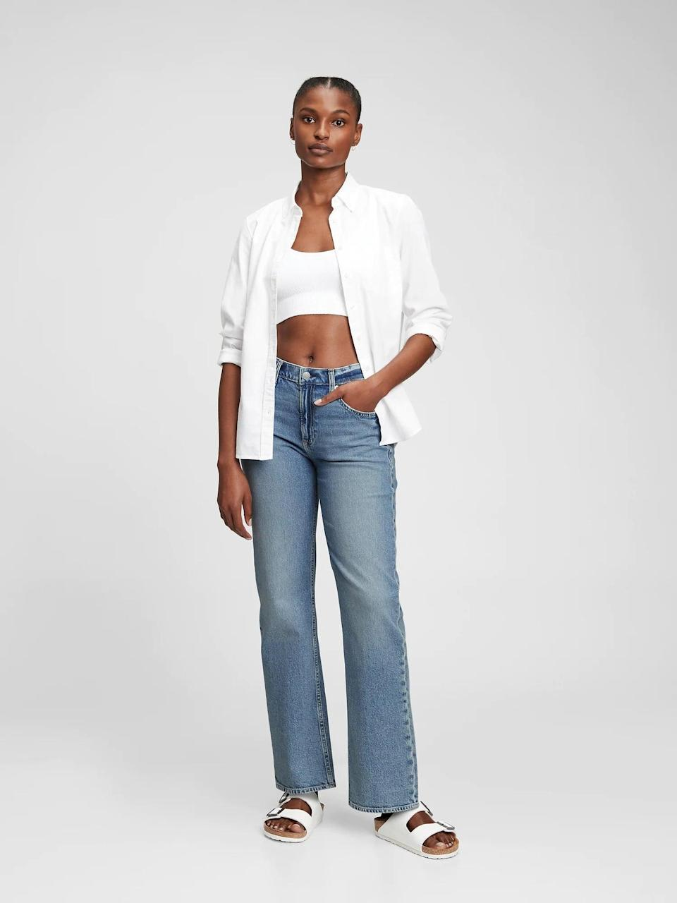 """<p>""""If you've been looking for those perfect '90s-inspired, loose jeans that look cool and casual, then these <span>Gap Mid Rise Organic Cotton '90s Loose Jeans</span> ($70) are them. They're soft and comfortable, and they actually look good slung across your hips (I know, I never would have believed it either). Basically, if you're looking to tiptoe back into denim, get these jeans, and thank me later."""" - IY</p>"""