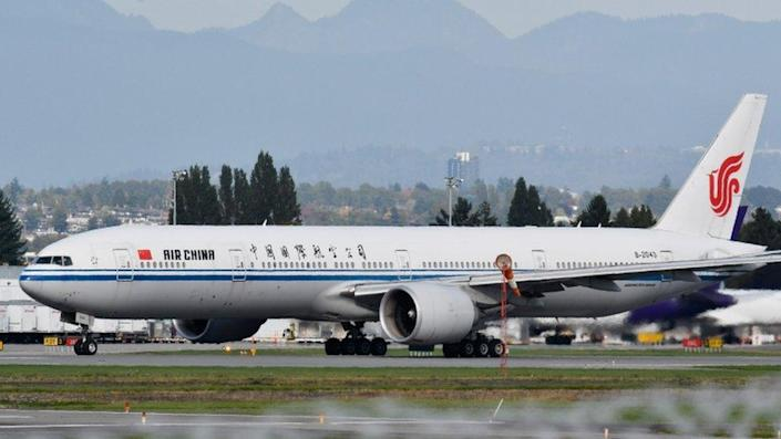 An Air China flight bound for Shenzhen, believed to be carrying Huawei CFO Meng Wanzhou, takes off from Vancouver International Airport in Richmond