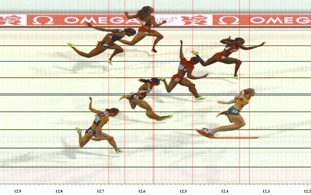 Australia's Sally Pearson wins the women's 100m hurdles final as seen in this official photo finish during the London 2012 Olympic Games at the Olympic Stadium August 7, 2012. REUTERS/Omega Ltd/Handout (BRITAIN - Tags: SPORT ATHLETICS OLYMPICS TPX IMAGES OF THE DAY) FOR EDITORIAL USE ONLY. NOT FOR SALE FOR MARKETING OR ADVERTISING CAMPAIGNS. THIS IMAGE HAS BEEN SUPPLIED BY A THIRD PARTY. IT IS DISTRIBUTED, EXACTLY AS RECEIVED BY REUTERS, AS A SERVICE TO CLIENTS. MANDATORY CREDIT.