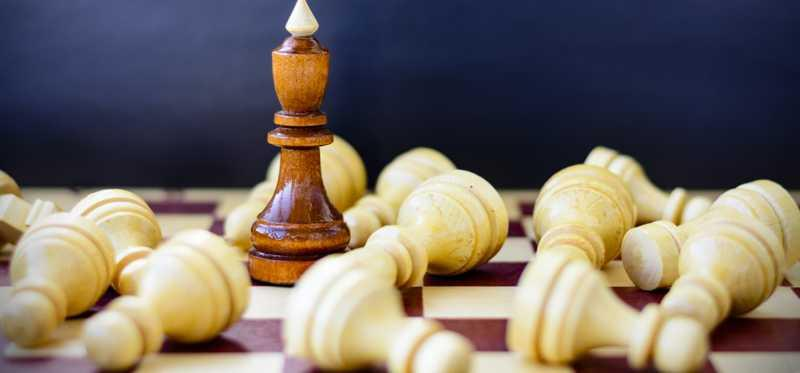 Chess pieces on a board.