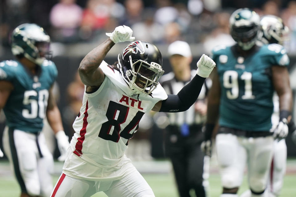 Atlanta Falcons running back Cordarrelle Patterson (84) celebrates a run against the Philadelphia Eagles during the first half of an NFL football game, Sunday, Sept. 12, 2021, in Atlanta. (AP Photo/Brynn Anderson)