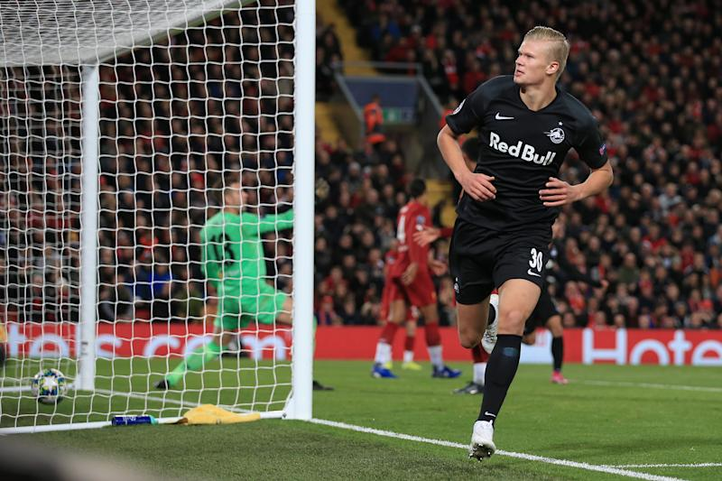 LIVERPOOL, ENGLAND - OCTOBER 02: Erling Haaland of Salzburg celebrates after scoring their 3rd goal during the UEFA Champions League group E match between Liverpool FC and RB Salzburg at Anfield on October 2, 2019 in Liverpool, United Kingdom. (Photo by Simon Stacpoole/Offside/Offside via Getty Images)