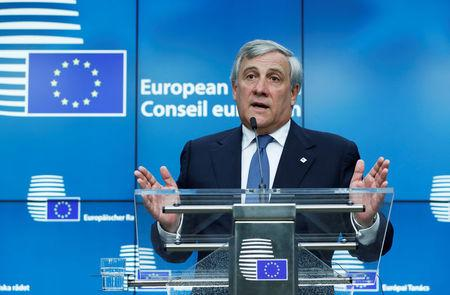 European Parliament President Antonio Tajani speaks during a press conference at the EU summit meeting in Brussels, Belgium, October 19, 2017. REUTERS/Yves Herman