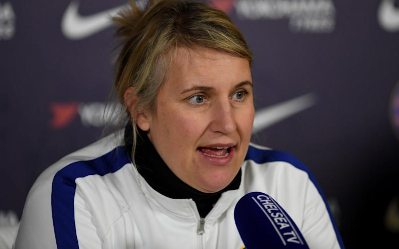 Emma Hayes, Manager of Chelsea speaks to media during a Chelsea FC Women's Press Conference at Chelsea Training Ground on February 26, 2020 in Cobham, England - Chelsea FC