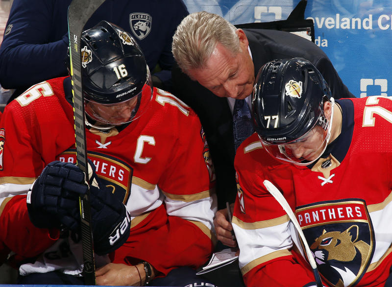 SUNRISE, FL - DECEMBER 12: Florida Panthers Assistant Coach Mike Kitchen maps out a plan with Aleksander Barkov #16 and Frank Vatrano #77 in the third period against the New York Islanders at the BB&T Center on December 12, 2019 in Sunrise, Florida. (Photo by Eliot J. Schechter/NHLI via Getty Images)