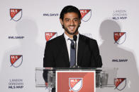 Los Angeles FC's Carlos Vela speaks during a news conference after winning the Major League Soccer Most Valuable Player award Monday, Nov. 4, 2019, in Los Angeles. Vela became the first Mexican player to win the MLS award. (AP Photo/Chris Carlson)