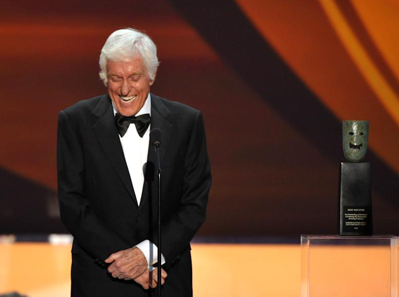 Dick Van Dyke accepts the Screen Actors Guild Life Achievement Award at the 19th Annual Screen Actors Guild Awards at the Shrine Auditorium in Los Angeles on Sunday Jan. 27, 2013. (Photo by John Shearer/Invision/AP)