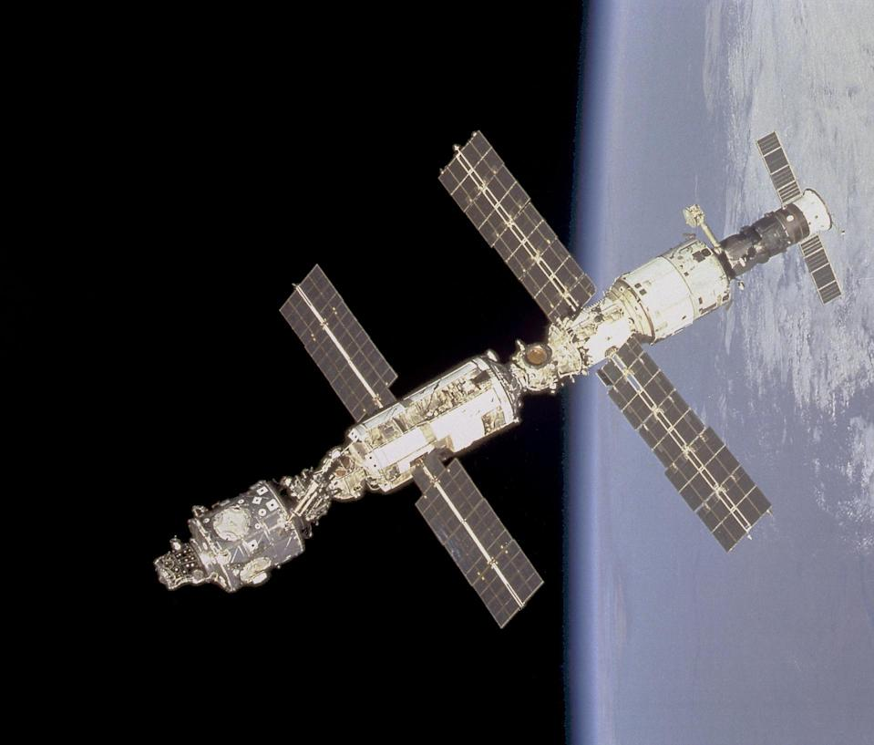 A photo of the International Space Station in orbit, taken from the Space Shuttle Endeavour prior to docking in 2000.