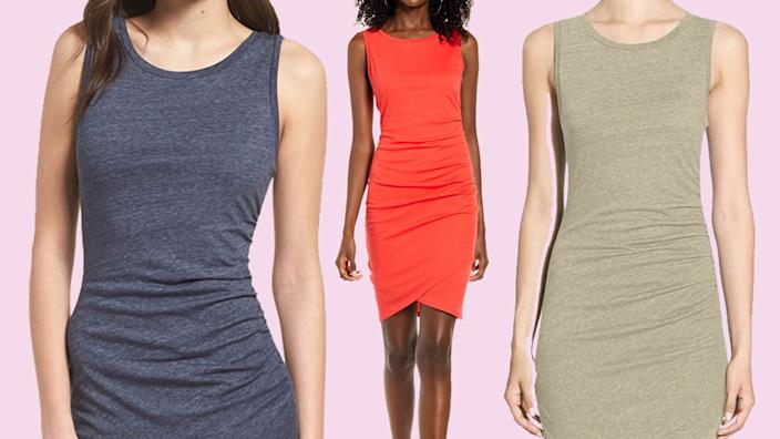 Nordstrom shoppers go crazy for this simple ruched dress.
