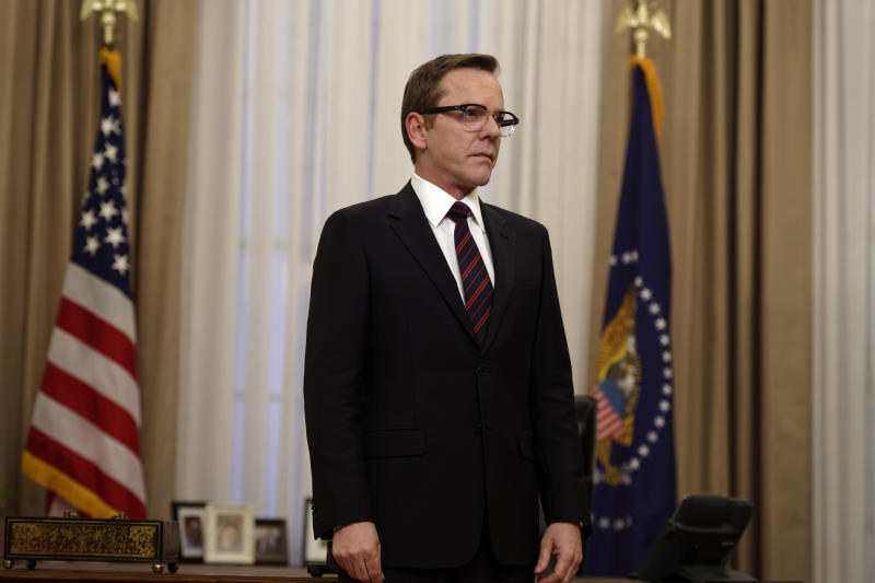 """In this image released by ABC, Kiefer Sutherland portrays Tom Kirkman in a scene from, """"Designated Survivor,"""" premiering Wednesday, Sept. 21. (Ben Mark Holzberg/ABC via AP)"""