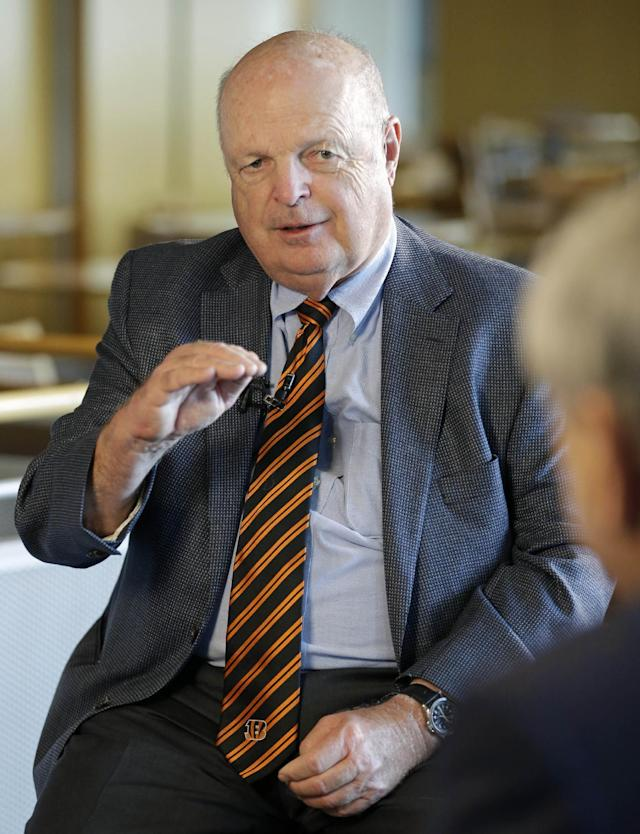Cincinnati Bengals president Mike Brown is interviewed during the team's pre training camp luncheon, Tuesday, July 22, 2014, in Cincinnati. The NFL football team has their first practice at training camp this Thursday. (AP Photo)