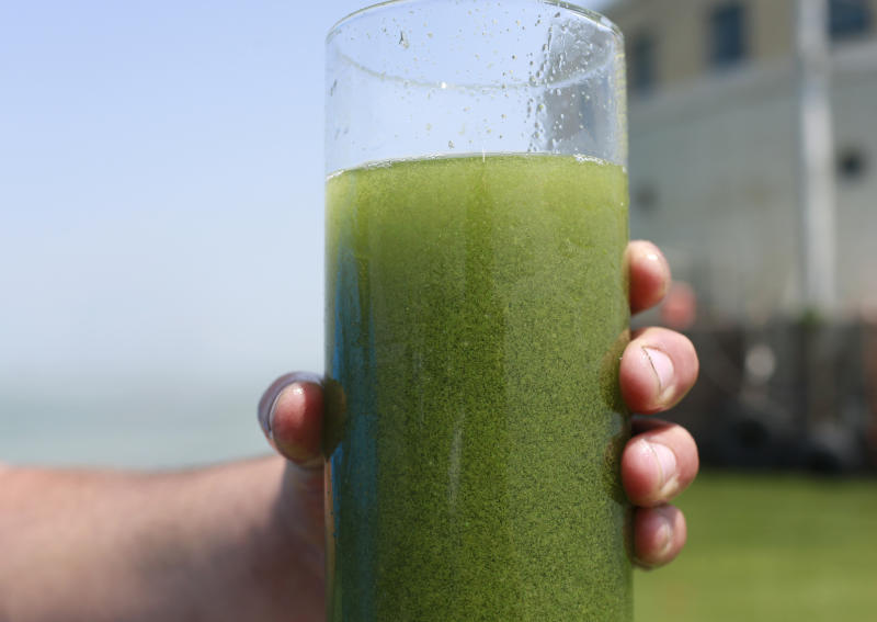 FILE - In this Aug. 3, 2014 file photo, a sample glass of Lake Erie water is photographed near the City of Toledo water intake crib on Lake Erie, off the shore of Curtice, Ohio. Researchers and officials across the country say increasingly frequent toxic algae blooms are another bi-product of global warming. They point to looming questions about their effects on human health. (AP Photo/Haraz N. Ghanbari, File)
