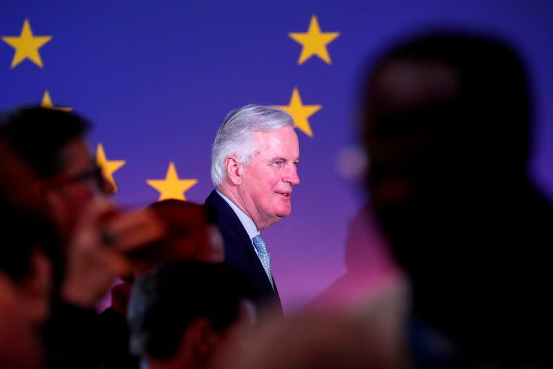 FILE PHOTO: EU's Chief Brexit Negotiator Barnier leaves after a speech on the future of Europe in Brussels
