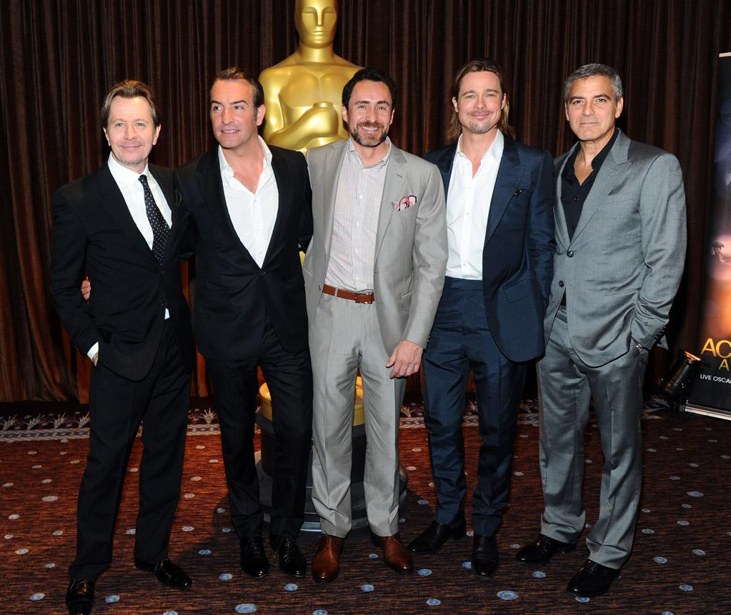 Following the festivities, the five Best Actor nominees -- Gary Oldman, Jean Dujardin, Demian Bichir, Brad Pitt, and George Clooney -- posed together for this picture. Which leading man deserves to take home the Oscar on February 26?