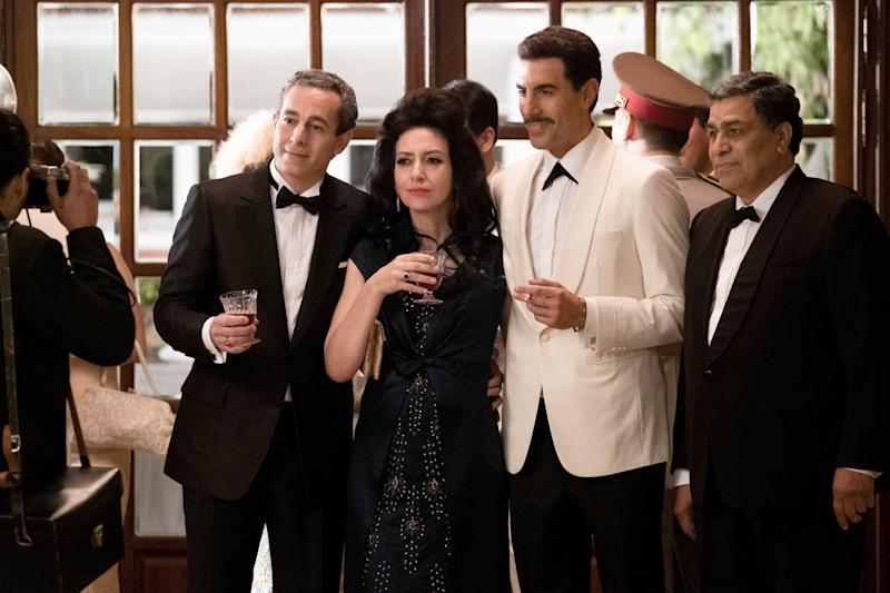 THE SPY, Waleed Zuaiter (left), Hadar Ratzon Rotem (2nd from left), Sacha Baron Cohen (2nd from right), (Season 1, airs Sept. 6, 2019). photo: Axel Decis / Netflix / courtesy Everett Collection