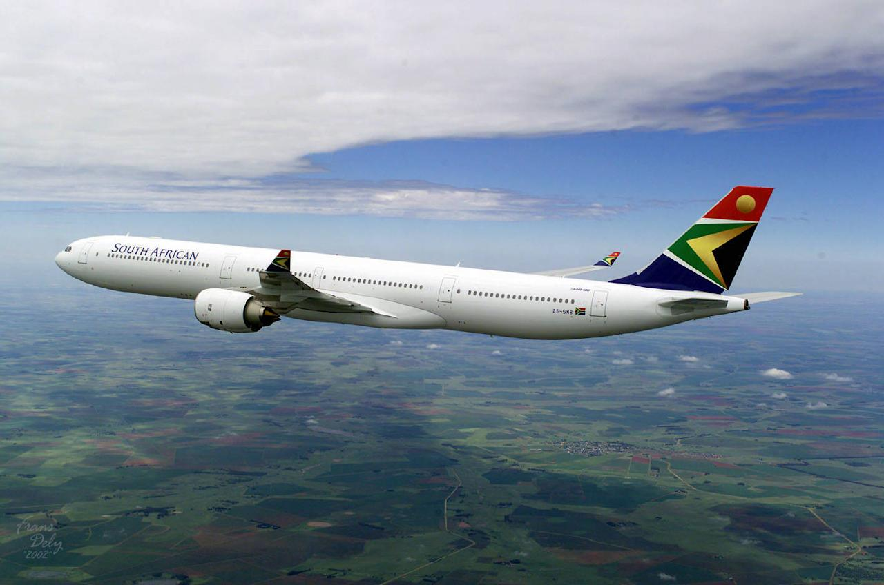 Undated handout photo of the Airbus A340-600 sporting the logo and colors of South African Airways .    AFP PHOTO -AIRBUS /PASCAL PAVANI/pp