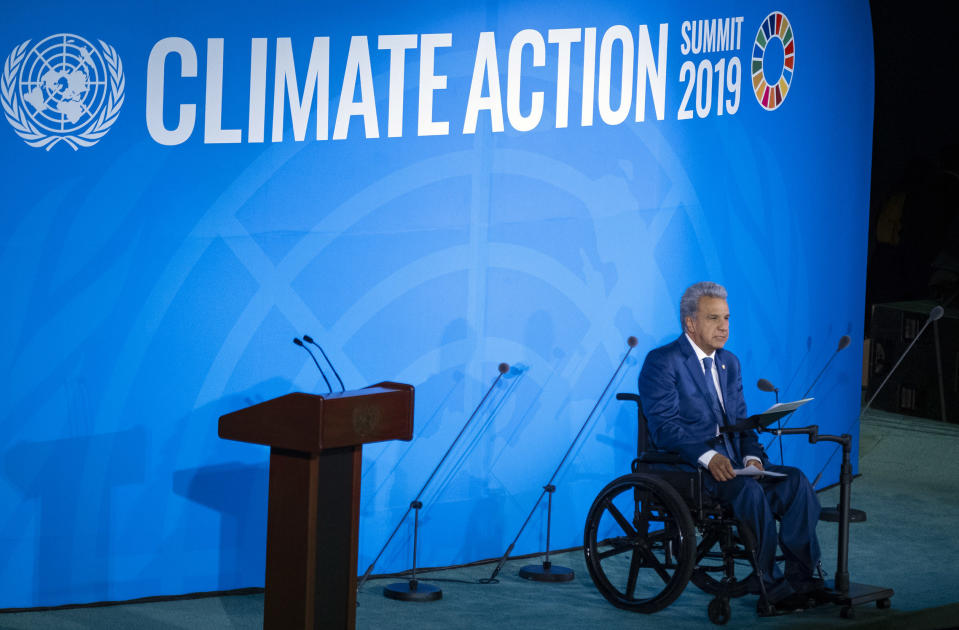 Ecuador's President Lenin Moreno Garcés speaks during the Climate Action Summit 2019 at the 74th session of the United Nations General Assembly, at U.N. headquarters, Monday, Sept. 23, 2019. (AP Photo/Craig Ruttle)
