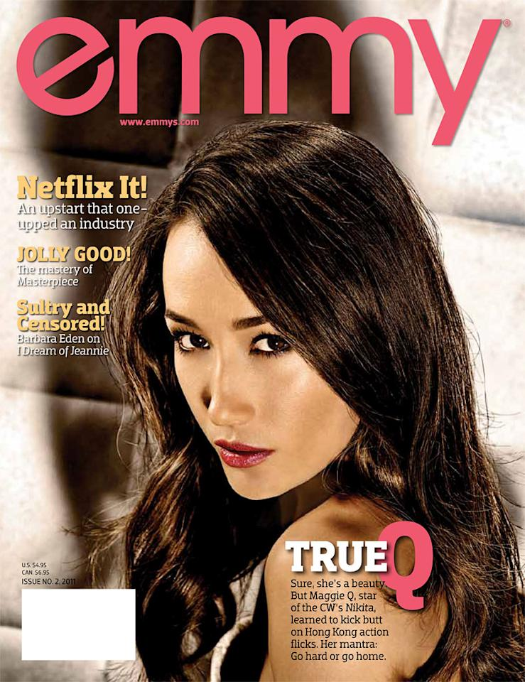 """<a href=""/nikita/show/46555"">Nikita</a>"" star <a href=""/maggie-q/contributor/844978"">Maggie Q</a> appears on the cover of Emmy magazine's latest issue, on newsstands now. Click through this slideshow to see all of Maggie's photos inside the magazine and what she had to share."