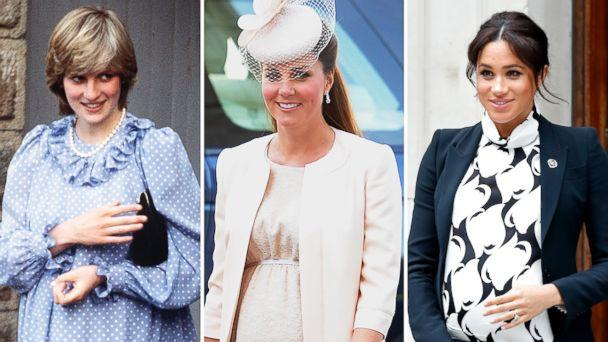 PHOTO: Diana, Princess of Wales, is pictured in April 1982, Catherine, Duchess of Cambridge, on June 4, 2013 and Meghan, Duchess of Sussex, on March 8, 2019. (AFP/Indigo/Getty Images)