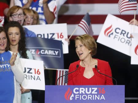 Carly Fiorina addresses a campaign rally after U.S. Republican presidential candidate Ted Cruz announced Fiorina as his running mate at Pan Am Plaza in Indianapolis, Indiana, U.S., April 27, 2016. REUTERS/Aaron P. Bernstein