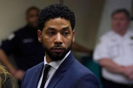 FILE PHOTO: Actor Jussie Smollett makes a court appearance at the Leighton Criminal Court Building in Chicago