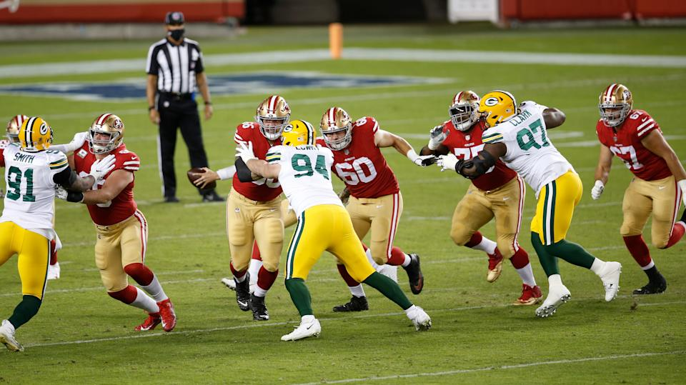 SANTA CLARA, CA - NOVEMBER 3: The San Francisco 49ers blocks during the game against the Green Bay Packers at Levi's Stadium on November 3, 2020 in Santa Clara, California. The Packers defeated the 49ers 34-17. (Photo by Michael Zagaris/San Francisco 49ers/Getty Images)