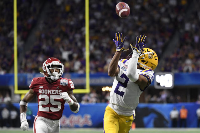 LSU wide receiver Justin Jefferson caught 14 passes for 227 yards and four touchdowns in the CFP semifinal against Oklahoma. (AP Photo/Danny Karnik)