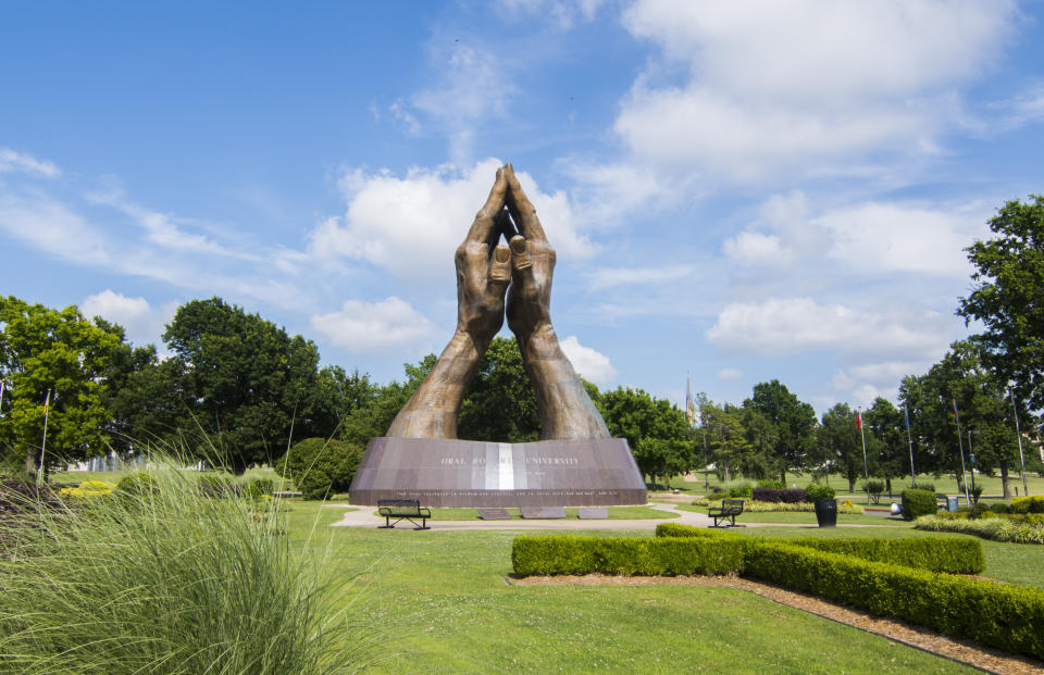 Tulsa Oklahoma Praying Hands at Oral Roberts University pray, praying. (Photo by: Education Images/Universal Images Group via Getty Images)
