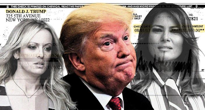 Stormy Daniels, Donald Trump and Melania Trump. (Photo illustration: Yahoo News; photos: AP (3), Courtesy Michael Cohen/Handout via Reuters)