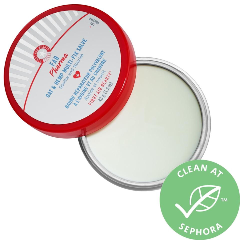 """<p>For skin challenges on your face and beyond, this <a href=""""https://www.popsugar.com/buy/First-Aid-Beauty-FAB-Pharma-Oat-Hemp-Multi-Fix-Salve-572828?p_name=First%20Aid%20Beauty%20FAB%20Pharma%20Oat%20and%20Hemp%20Multi-Fix%20Salve&retailer=sephora.com&pid=572828&price=34&evar1=bella%3Aus&evar9=47461551&evar98=https%3A%2F%2Fwww.popsugar.com%2Fbeauty%2Fphoto-gallery%2F47461551%2Fimage%2F47461558%2FFirst-Aid-Beauty-FAB-Pharma-Oat-Hemp-Multi-Fix-Salve&list1=sephora%2Cdry%20skin%2Cacne%2Csensitive%20skin%2Cbeauty%20shopping%2Cskin%20care&prop13=mobile&pdata=1"""" class=""""link rapid-noclick-resp"""" rel=""""nofollow noopener"""" target=""""_blank"""" data-ylk=""""slk:First Aid Beauty FAB Pharma Oat and Hemp Multi-Fix Salve"""">First Aid Beauty FAB Pharma Oat and Hemp Multi-Fix Salve</a> ($34) packs in oatmeal, hemp seed oil, and natural butters into its hardworking, top-rated balm. Whether you use it to relieve distressed complexions or chapped lips instead, the non-greasy, omega-rich salve has things sorted.</p>"""