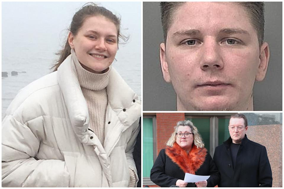 Pawel Relowicz has been sentenced to life in prison for murdering and raping Libby Squire, left, as he mother spoke of her anguish. (PA/Humberside Police)