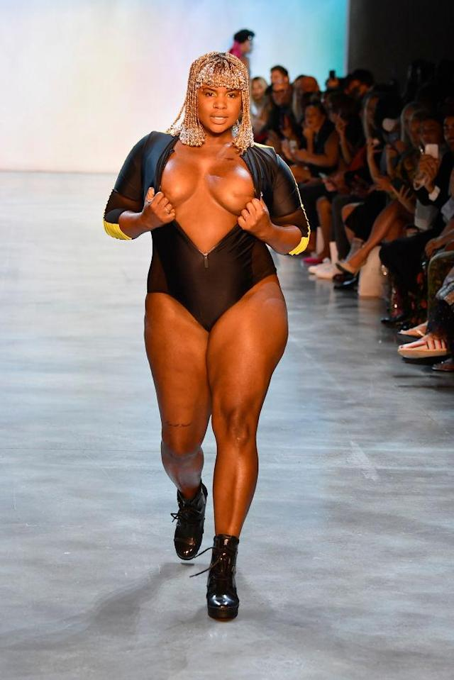 Breast cancer survivor Ericka Hart walks the runway for Chromat during NYFW on Sept. 7. (Photo: Getty Images)
