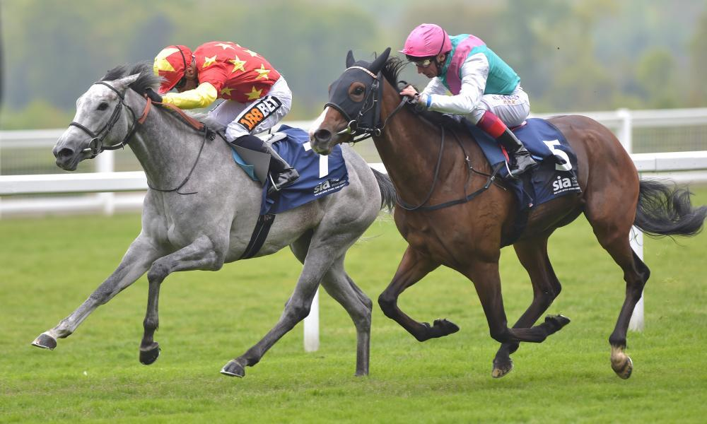 Silvestre De Sousa guides Prosper (left) to victory over Frankie Dettori and Icespire at Ascot.