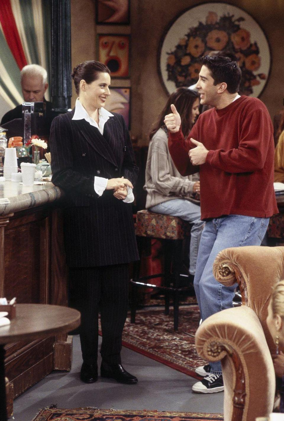 """<p>The Italian actress and filmmaker, Isabella Rossellini, visited Central Perk as herself right after Ross decides she is """"too international"""" to remain on his celebrity hall pass list. The hilarious cameo begins with him asking Isabella out, only to end with her finding out he bumped her off of his list for Winona Ryder.</p>"""