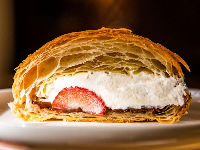 Strawberry, cream, hazelnut, and Nutella on a croissant from baker Zack Hall. | Sarah Crowder