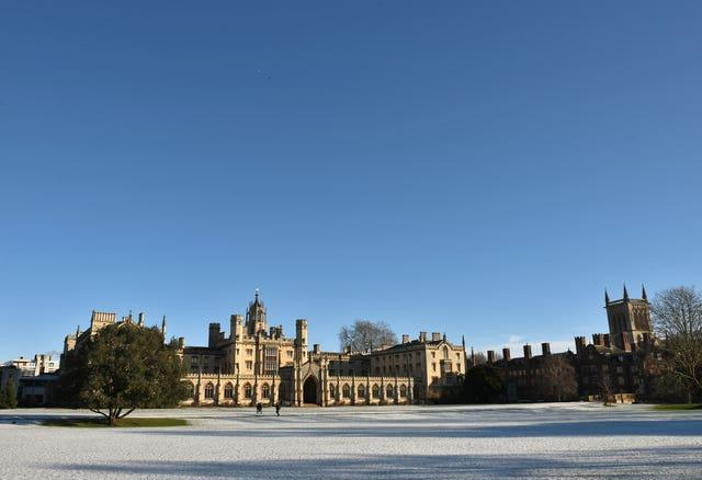 A dusting of snow surrounds St John's College in Cambridge (Joe Giddens/PA)