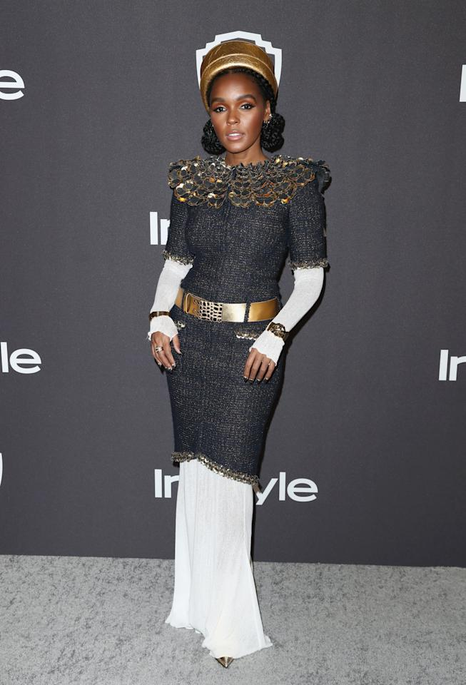 <p>Janelle Monáe matched her nails to her outfit so tastefully at the Golden Globes.</p>