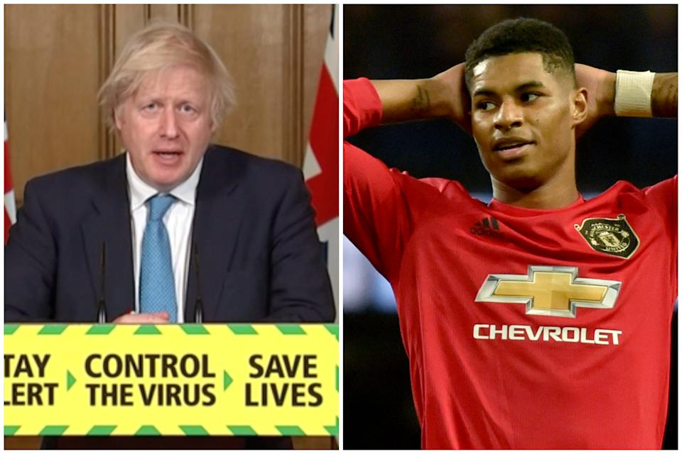 Boris Johnson said he only became aware of Marcus Rashford's free school meals campaign today.