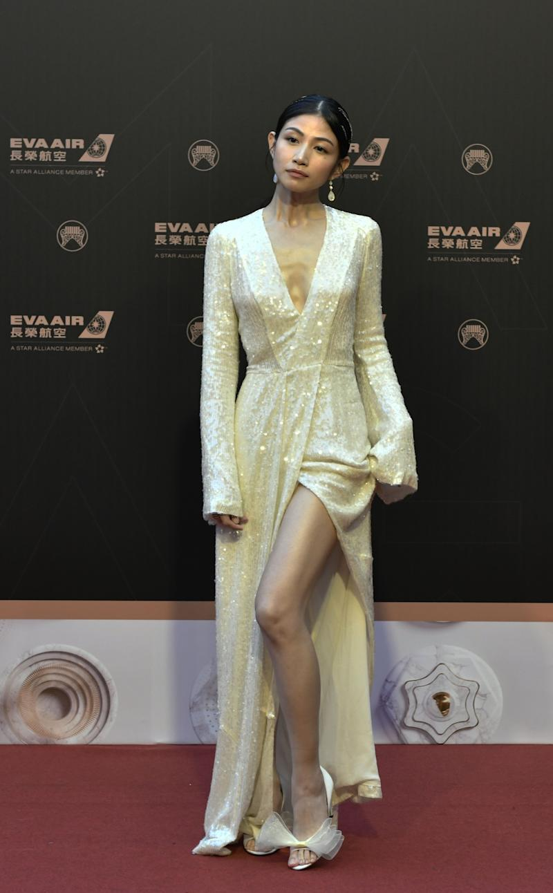 Taiwanese singer Na Na Lee poses for photos upon arrival for the 30th Golden Melody Awards in Taipei on June 29, 2019. (Photo by SAM YEH / AFP) (Photo credit should read SAM YEH/AFP/Getty Images)